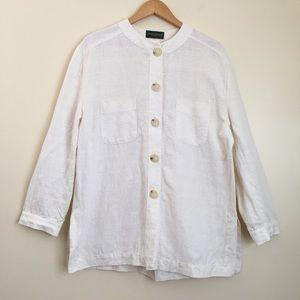 Oversized Linen Button Up Tunic Shirt Long Sleeves